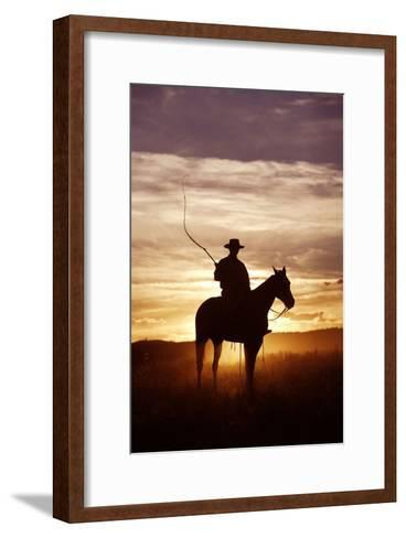 Cattleman Riding Quarter, Paint Horse at Sunset--Framed Art Print