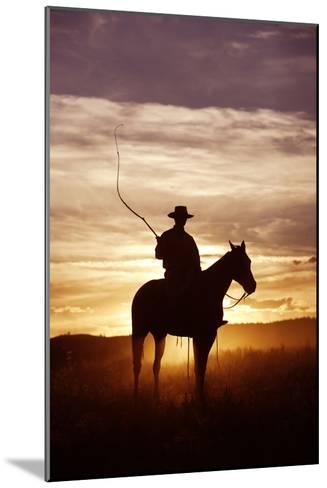 Cattleman Riding Quarter, Paint Horse at Sunset--Mounted Photographic Print