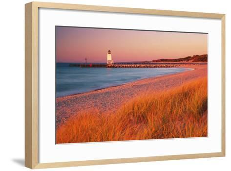 USA Charlevoix Lighthouse and Beach at Sunset--Framed Art Print