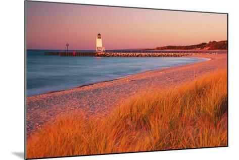 USA Charlevoix Lighthouse and Beach at Sunset--Mounted Photographic Print