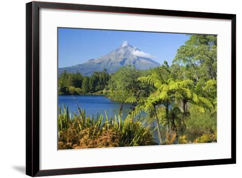 Mount Egmont Lake, Tree Ferns and Perfectly Cone-Shaped--Framed Art Print