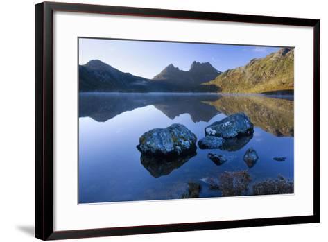 Mountain Scenery Dove Lake in Front of Massive--Framed Art Print