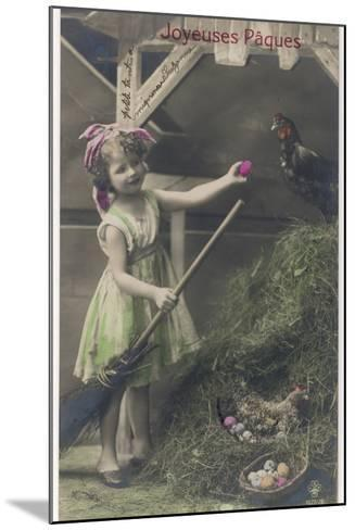 Little Girl with Coloured Eggs in a Poultry Yard--Mounted Photographic Print