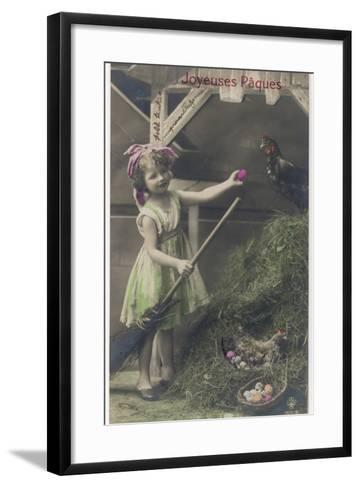 Little Girl with Coloured Eggs in a Poultry Yard--Framed Art Print