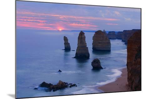 Twelve Apostles Sunset Setting Sun over the Sandstone--Mounted Photographic Print