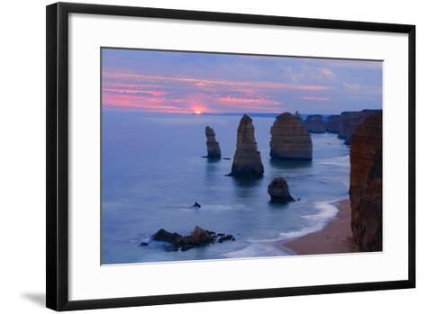 Twelve Apostles Sunset Setting Sun over the Sandstone--Framed Art Print