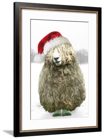 Longwool Sheep Wellington Boots Wearing Christmas Hat--Framed Art Print