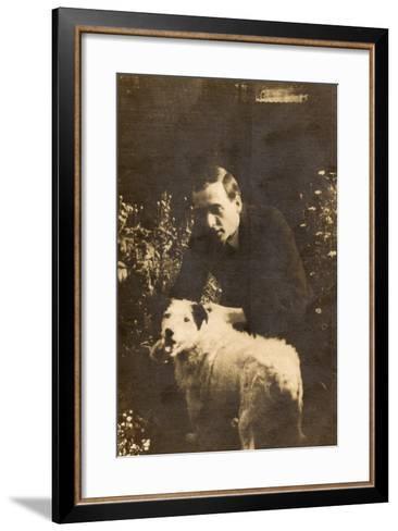Man with a Terrier in a Garden--Framed Art Print