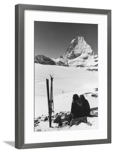 Resting Skiers--Framed Art Print