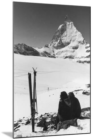Resting Skiers--Mounted Photographic Print