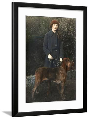 Young Woman with a Dog in a Garden--Framed Art Print