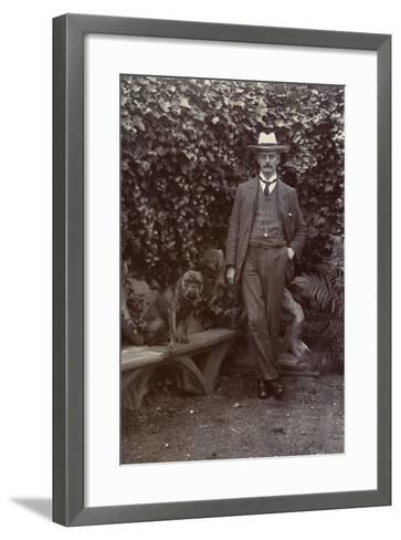 Man with a Bulldog in a Garden--Framed Art Print