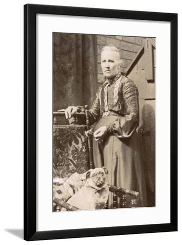 Woman with a Dog in a Back Garden--Framed Art Print
