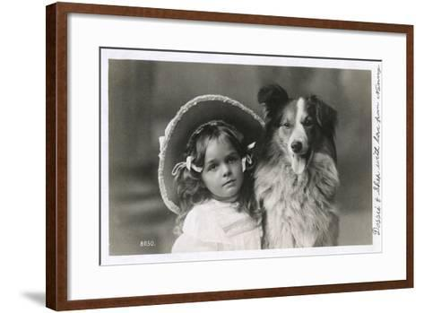 Girl in Straw Hat with Dog--Framed Art Print