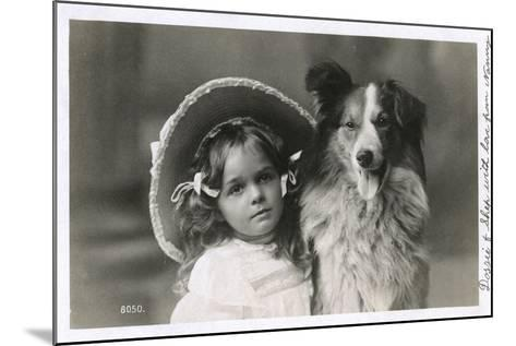Girl in Straw Hat with Dog--Mounted Photographic Print