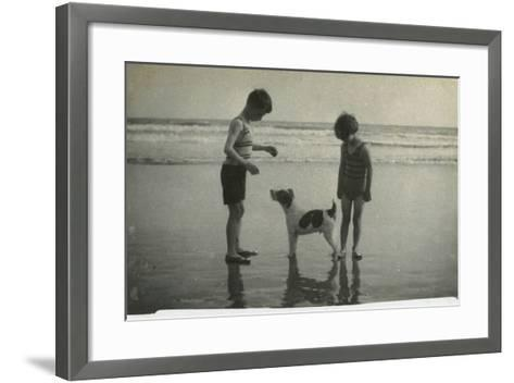 Two Children on Beach with Dog--Framed Art Print