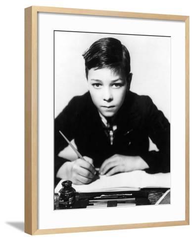 Boy Writing--Framed Art Print