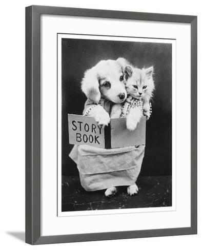 Dog and Cat Reading--Framed Art Print