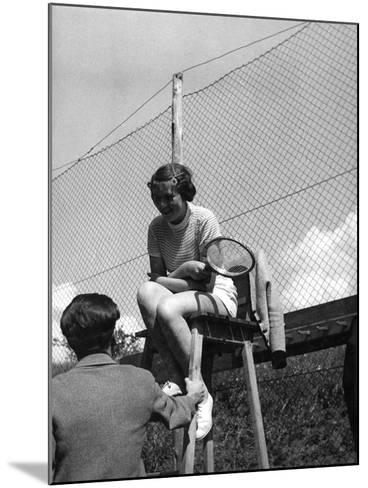 Love on the Tennis Court--Mounted Photographic Print