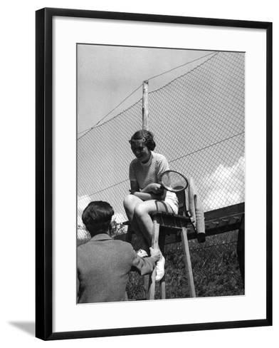 Love on the Tennis Court--Framed Art Print