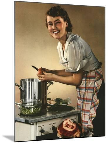 Smiling Woman Preparing a Wholesome Feast--Mounted Photographic Print