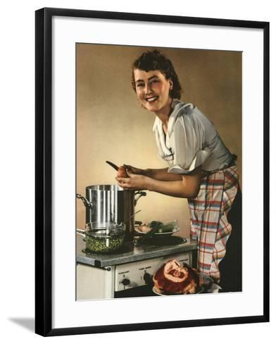 Smiling Woman Preparing a Wholesome Feast--Framed Art Print