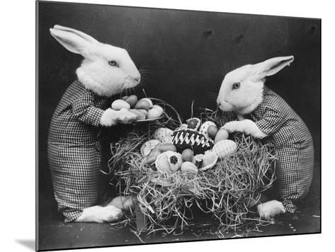 Easter Bunnies and Eggs--Mounted Photographic Print