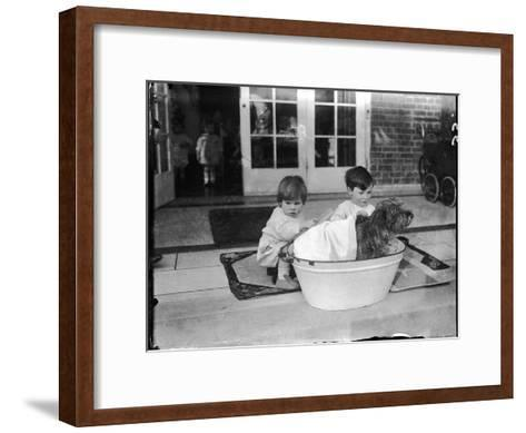 Bathing the Dog--Framed Art Print