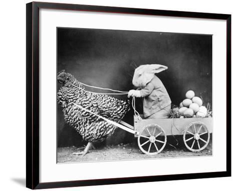 Rabbit in Hen Cart--Framed Art Print