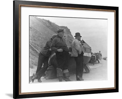 Fishermen at Overstrand-Staniland Pugh-Framed Art Print