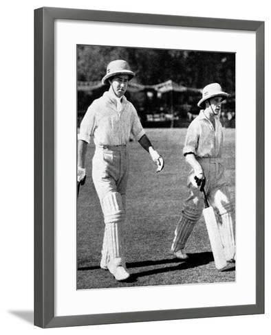 W. Edrich and N.W.D. Yardley Going Out to Bat, Lahore, 1937--Framed Art Print