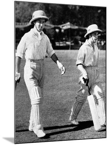 W. Edrich and N.W.D. Yardley Going Out to Bat, Lahore, 1937--Mounted Photographic Print