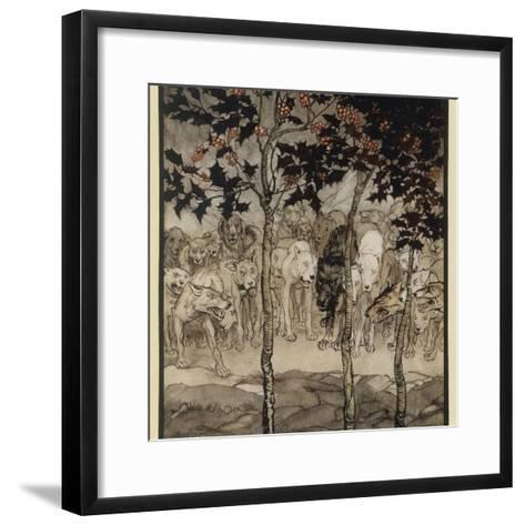 Mythical Irish Dogs-Arthur Rackham-Framed Art Print