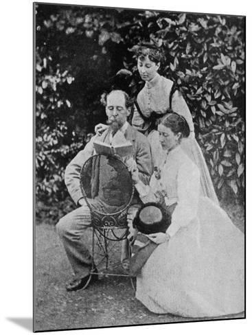 Charles Dickens English Writer at His Home at Gadshill in Kent with His Daughters Kate and Mary--Mounted Photographic Print