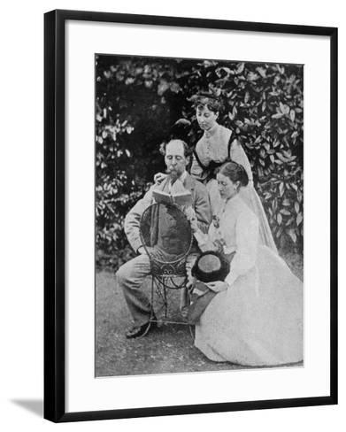 Charles Dickens English Writer at His Home at Gadshill in Kent with His Daughters Kate and Mary--Framed Art Print