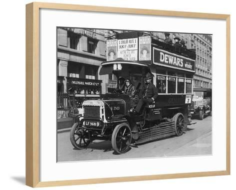 Bus Gets Police Protection During the General Strike--Framed Art Print