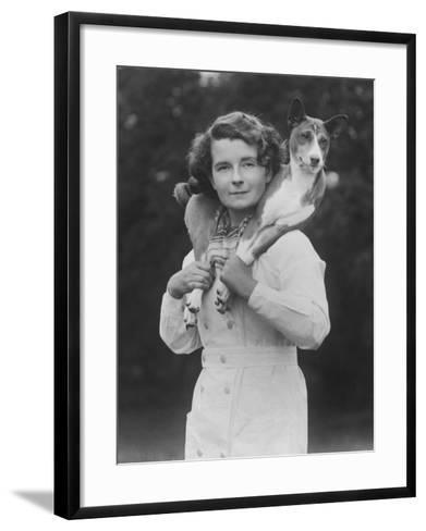 Mrs Tudor-Williams with One of Her Basenjis Kwango of the Congo-Thomas Fall-Framed Art Print
