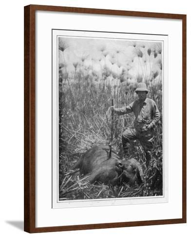 Theodore Roosevelt 26th American President with a Dead Buffalo--Framed Art Print