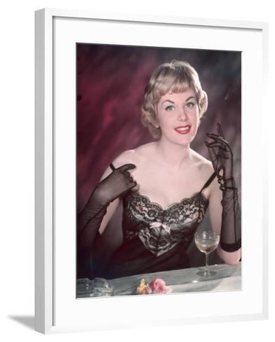 Lacy Lingerie Pin-Up-Charles Woof-Framed Art Print
