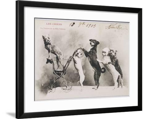 """La Promenade de Mademoiselle Follette"", Four Dogs Take a Fifth for a Ride in a Pram- Like Vehicle--Framed Art Print"