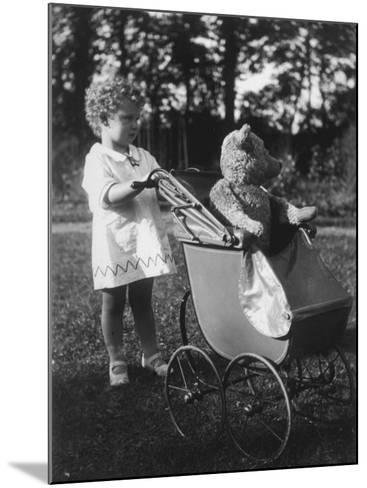 Little Girl Pushes Her Teddy Bear Around in a Pram--Mounted Photographic Print