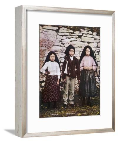 The Three Children Jacinta Francisco and Lucia Who Saw the Vision of Fatima in Portugal--Framed Art Print