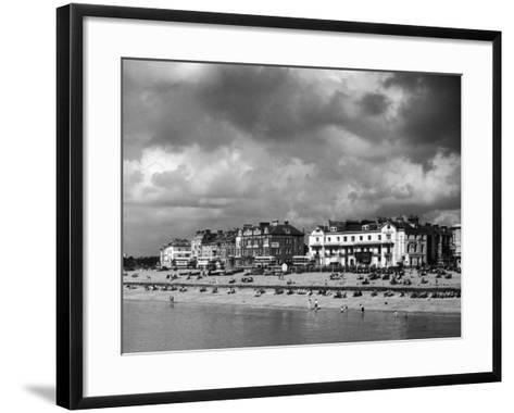 Storm Clouds Over the Promenade and the Beach from the Pier at Southsea Hampshire England--Framed Art Print
