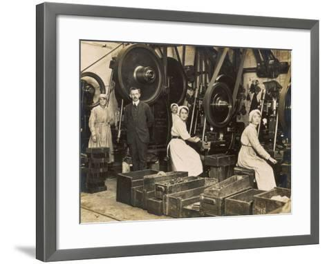 Female War Workers in a Manchester Munitions Factory--Framed Art Print