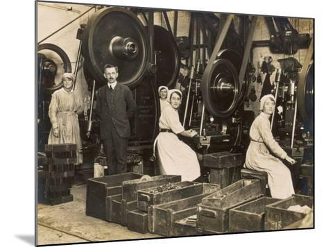 Female War Workers in a Manchester Munitions Factory--Mounted Photographic Print