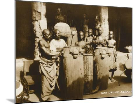 The War Drums of the Ashanti Tribesmen - Gold Coast, West Africa - Ghana--Mounted Photographic Print