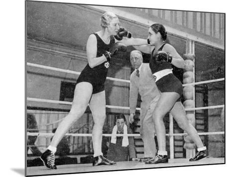 Two Women Box in a Ring, with a Referee Present--Mounted Photographic Print