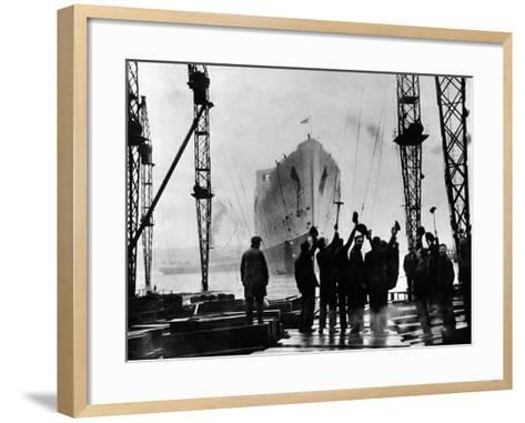 The Launch of R.M.S. 'Queen Mary', Clydebank, September 1934--Framed Art Print