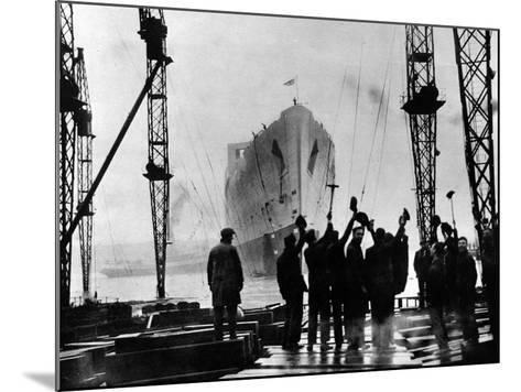 The Launch of R.M.S. 'Queen Mary', Clydebank, September 1934--Mounted Photographic Print