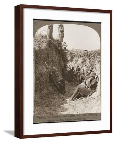 Waiting in Trenches WWI--Framed Art Print
